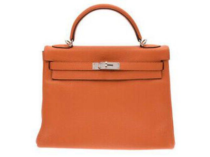 Sacs à main Hermès hermes kelly 32 Cuir Orange ref.132919