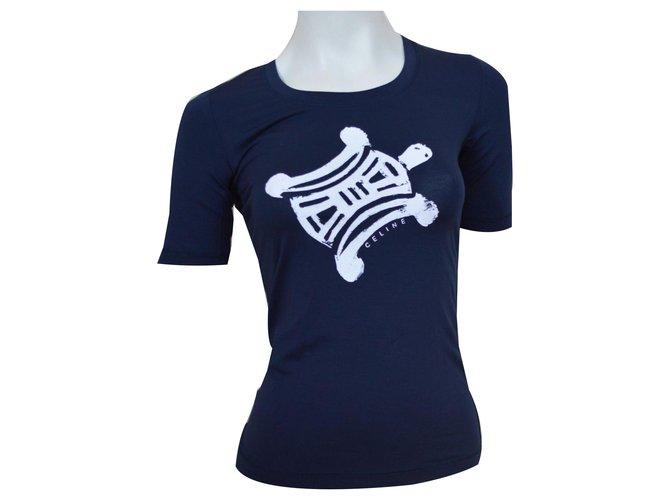 Céline CELINE Navy Blue T-Shirt Top Size S SMALL Tops Cotton,Elastane White,Navy blue ref.132934