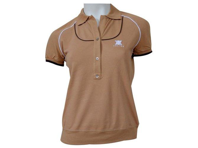 Céline CELINE Camel Cotton Pique Short Sleeve Polo Shirt Top Size M MEDIUM Tops Cotton,Elastane Caramel ref.132940