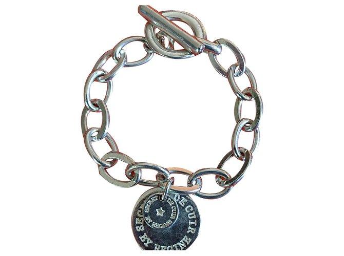 Bracelets Autre Marque Gourmette Secret de Cuir Plaqué argent Argenté ref.132953
