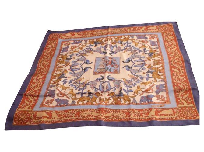 Hermès Early America Silk scarves Silk Blue ref.132991