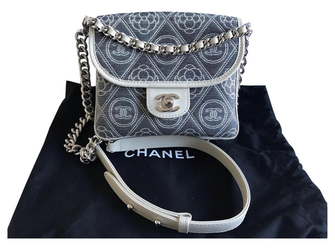 Chanel Chanel Two way messenger bag Handbags Cotton Grey ref.133096