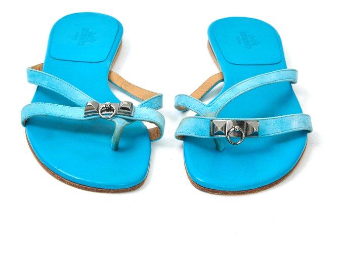 Hermès CORFOU TURQUOISE FR37.5 Sandals Deerskin Turquoise ref.133468