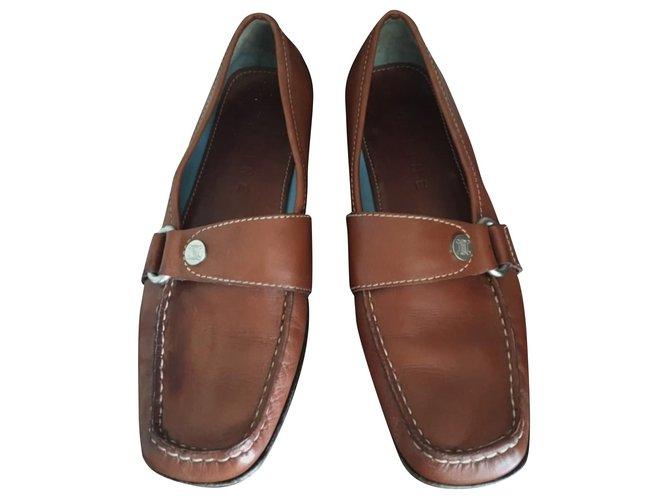 Céline Flats Flats Leather Dark brown ref.133479