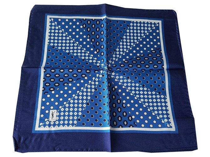 Yves Saint Laurent Men Scarves Men Scarves Silk Blue ref.133520