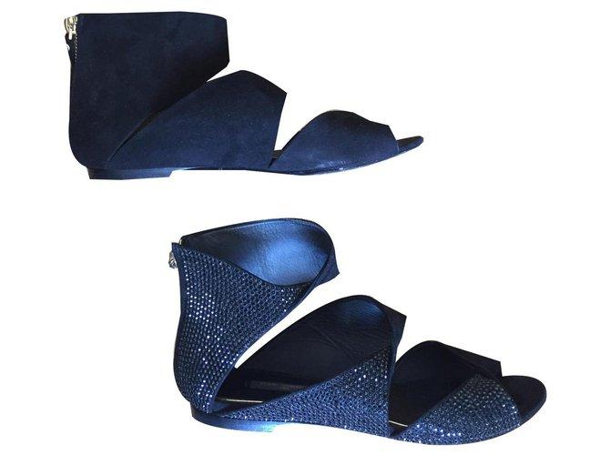 Louis Vuitton Suede and rhinestone sandals Black Leather Deerskin  ref.133545