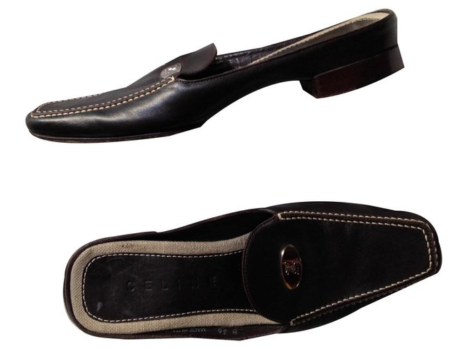 Céline Celine loafers Mules Leather Brown ref.133568