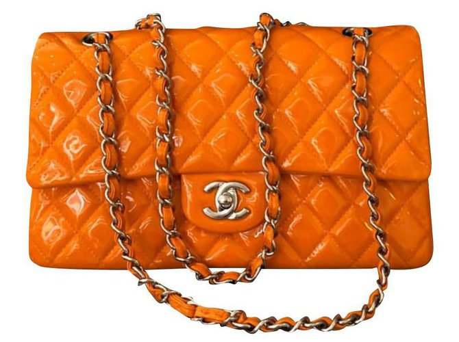 Chanel Chanel Timeless Handbags Patent leather Orange ref.133751