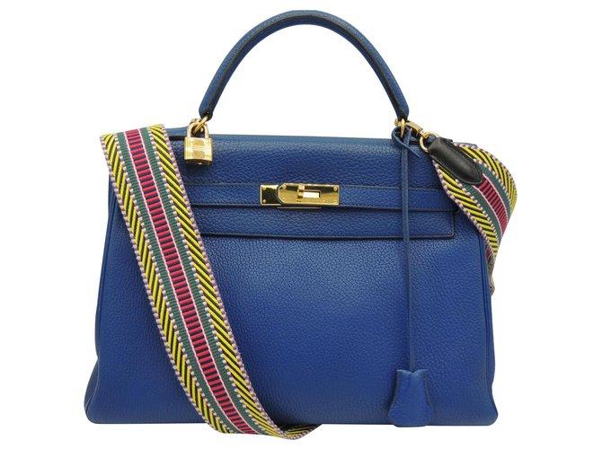 Hermès hermes kelly 32 Handbags Leather Blue ref.134037