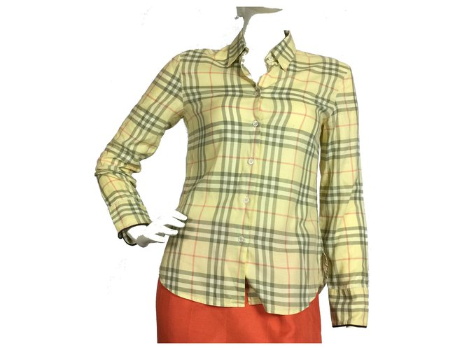 Burberry Plaid cotton shirt Tops Cotton Yellow ref.134063