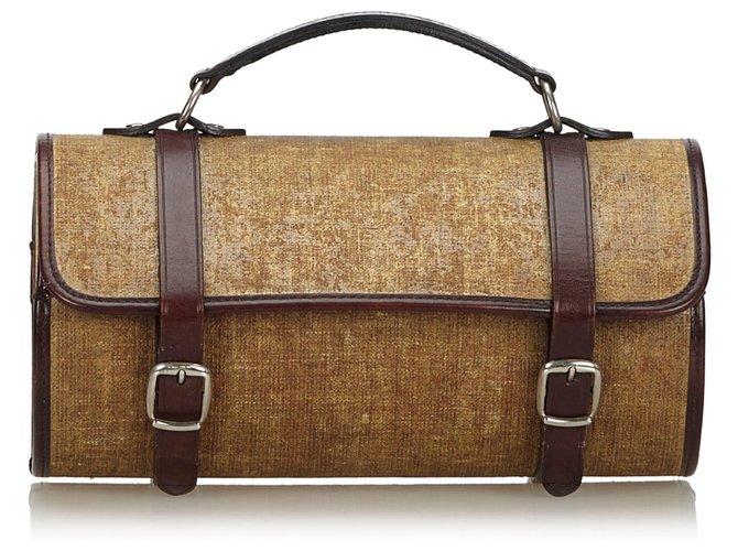 Chanel Brown Fabric Handbag Handbags Leather Other