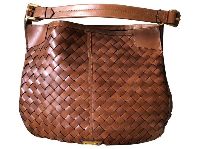 Burberry BRAIDED LEATHER XL HOBO BAG Handbags Leather Brown ref.134147