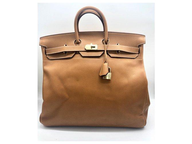 Hermès HAUT A COURROIES 50 cm Bags Briefcases Leather Golden ref.134168