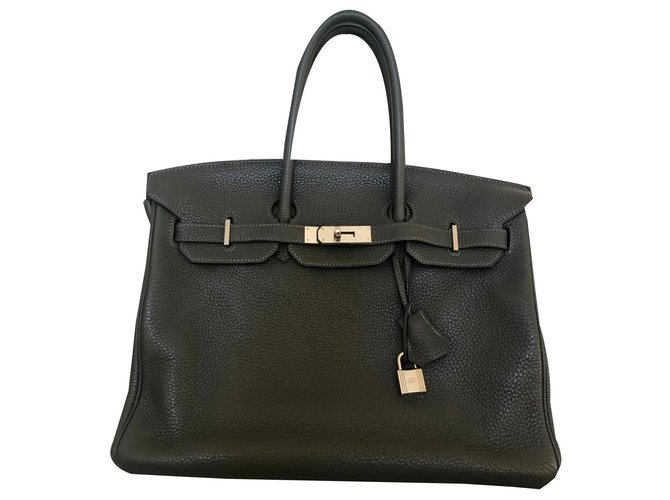 Hermès Birkin Bag 35 HERMES GRAY TAURILLON Handbags Leather Grey ref.134194