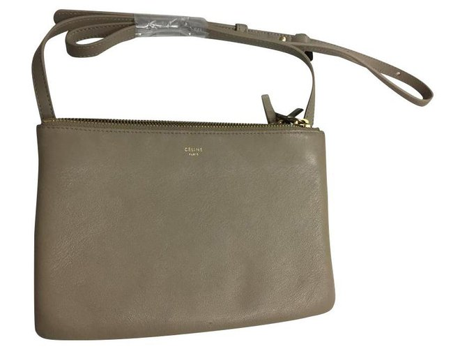 Céline CELINE TRIO BAG IN SMOOTH LAMBSKIN Handbags Leather Beige ref.134204