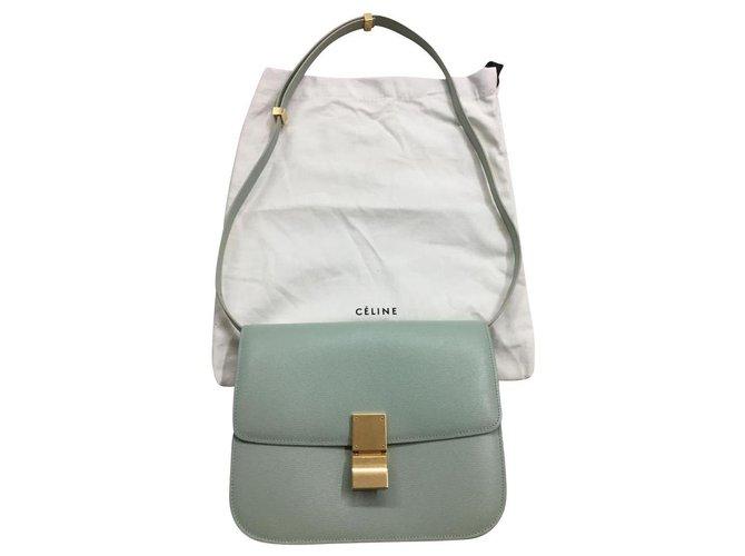 Céline MEDIUM CLASSIC BAG BOX LIEGE LEATHER Handbags Leather Light green ref.134206