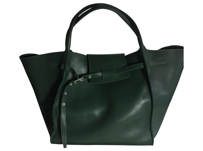 Céline CELINE MEDIUM BIG BAG IN SOFT BARE calf leather Handbags Leather Green ref.134208