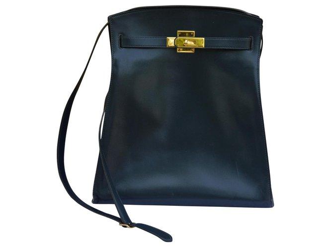 Hermès Kelly sports bag Handbags Leather Navy blue ref.134227