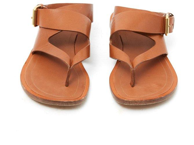 Céline CAMEL FLAT FR38 Sandals Leather Caramel ref.134233
