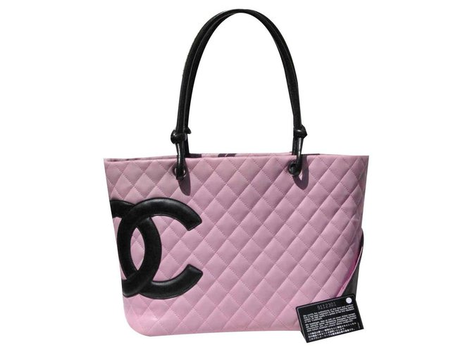 Chanel Cambon GM bag Black Pink Leather  ref.134326