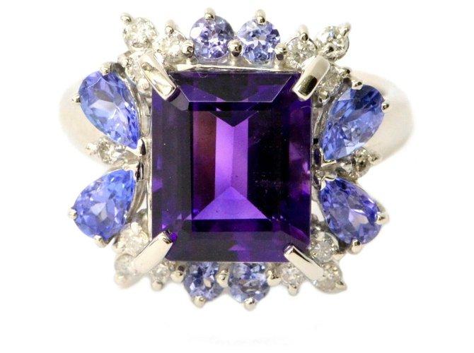 Bagues Autre Marque Bague à diamants en tanzanite avec améthyste sans marque Autre Bleu ref.134492