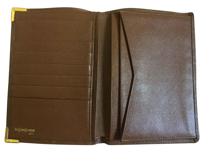 Yves Saint Laurent 3 shutters Wallets Small accessories Leather Brown ref.134537