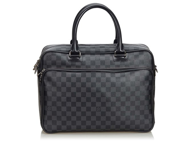 Louis Vuitton Louis Vuitton Black Damier Graphite Icare Laptop Bag Misc Leather,Other,Cloth Black,Grey ref.134745