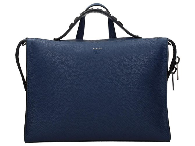 Fendi Fendi briefcase new Bags Briefcases Leather Blue ref.134800