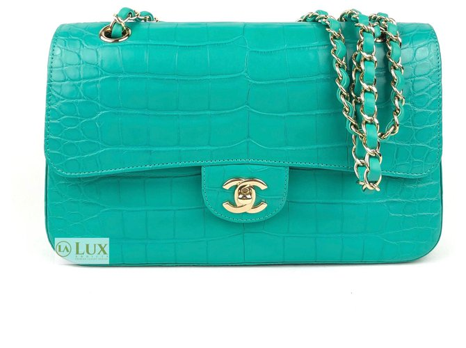 Chanel classic lined flap Handbags Exotic leather Turquoise ref.134834