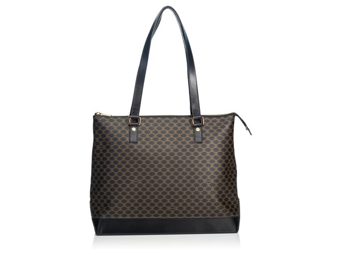 Céline Celine Black Macadam Tote Bag Totes Leather,Other,Plastic Brown,Black ref.134871