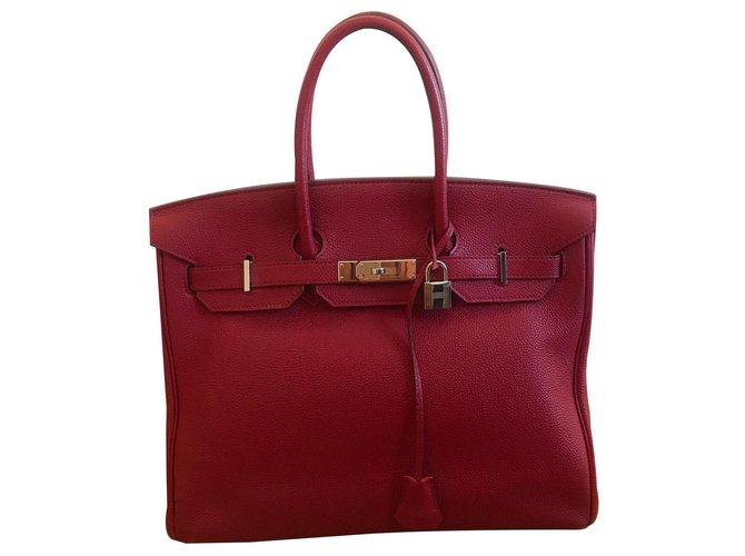 Hermès Birkin 35 Handbags Leather Red ref.134938
