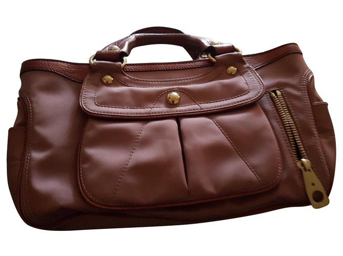 Céline Boogie Handbags Leather,Cloth Pink ref.135033