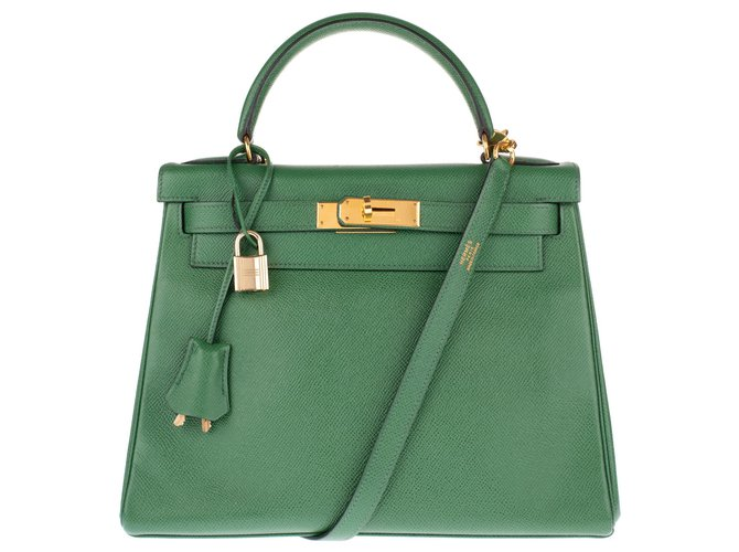 Sacs à main Hermès Hermès Kelly 28 bandoulière en cuir Courchevel couleur vert pré en très bon état ! Cuir Vert ref.135144
