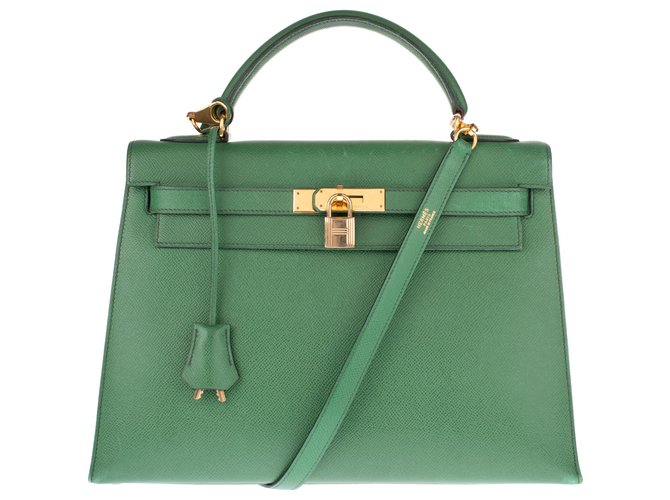 Hermès Delightful Hermès Kelly saddler 32 cm leather courchevel green grass , gold jewelery and in very good condition! Handbags Leather Green ref.135193
