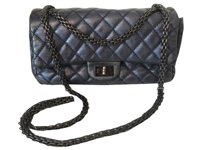 Chanel Reissue Handbags Leather Blue,Metallic ref.135236