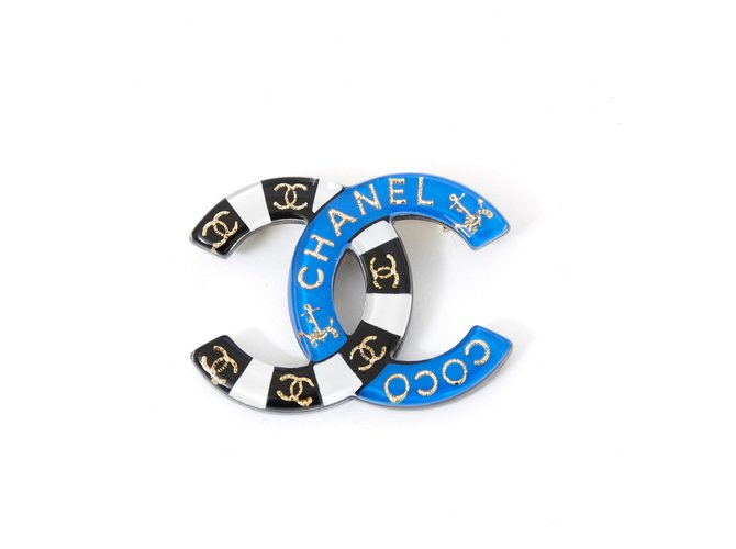 Chanel LIFESAVER CC Pins & brooches Metal,Resin Black,White,Blue,Golden ref.135240