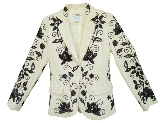 Chloé fully embroidered Chloé jacket Jackets Cotton White ref.135276