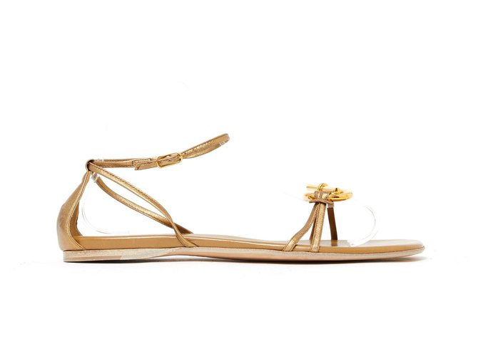 Hermès CHAIN ANCHOR FR41 GOLD NEW Sandals Leather,Metal Golden ref.135386