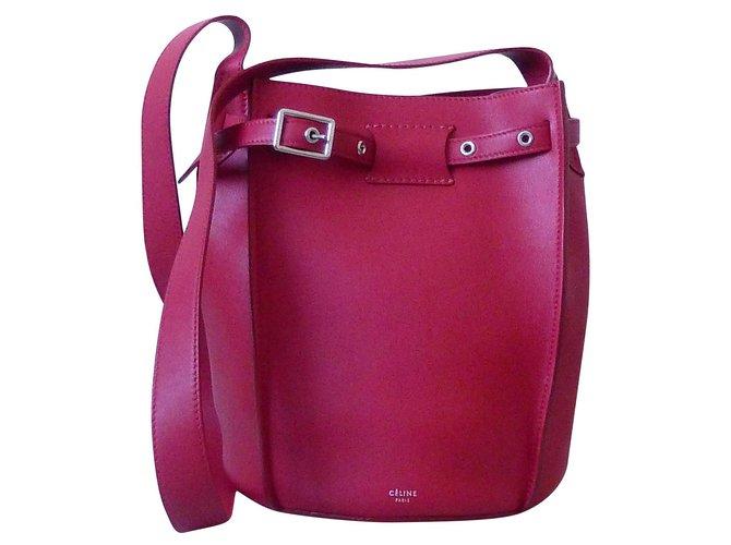 Céline Céline Big Bag Bucket Handbags Leather Red ref.135388