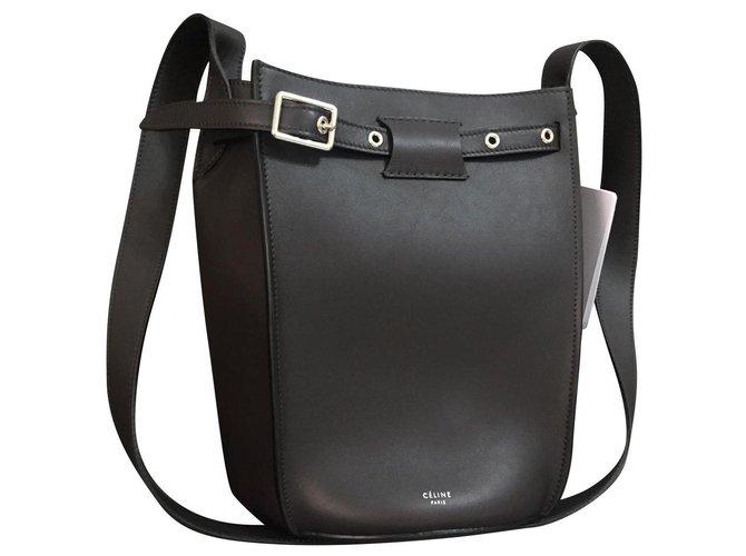 Céline Celine bag bucket big bag in smooth calf Handbags Leather Dark grey ref.135433