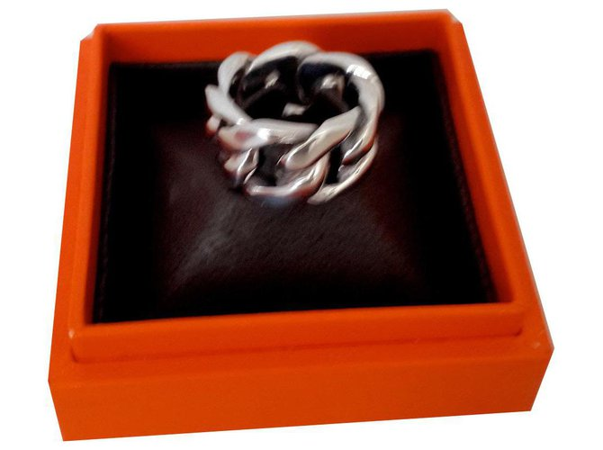 Hermès curb Rings Silver Silvery ref.135450