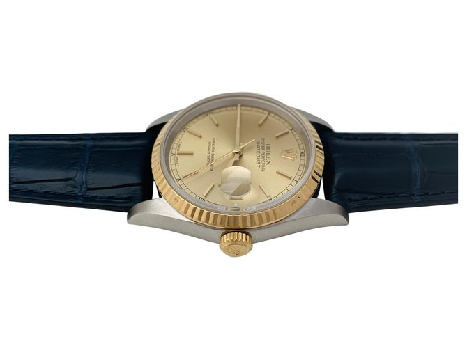 "Rolex Rolex ""Datejust"" watch in yellow gold and steel on leather. Misc Leather,Other,Steel,Yellow gold Other ref.135459"
