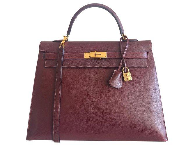 Sacs à main Hermès Hermes Kelly 35 Epsom Sienne Cuir Bordeaux ref.135465