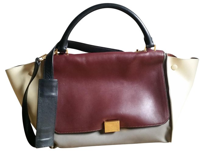 Céline Trapeze Handbags Leather Grey,Dark red,Cream ref.135486