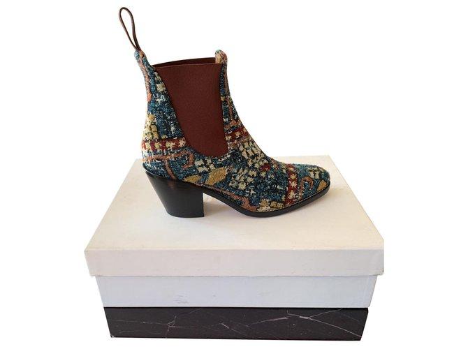 Chloé Chloé santiag spirit boot new multicolor Ankle Boots Leather Black ref.135493