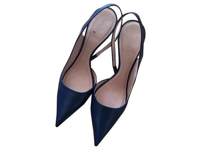 Céline Heels Heels Leather Navy blue ref.135543