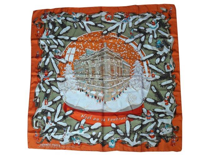 Hermès CHRISTMAS AU 24 Faubourg Silk scarves Silk Orange ref.135551