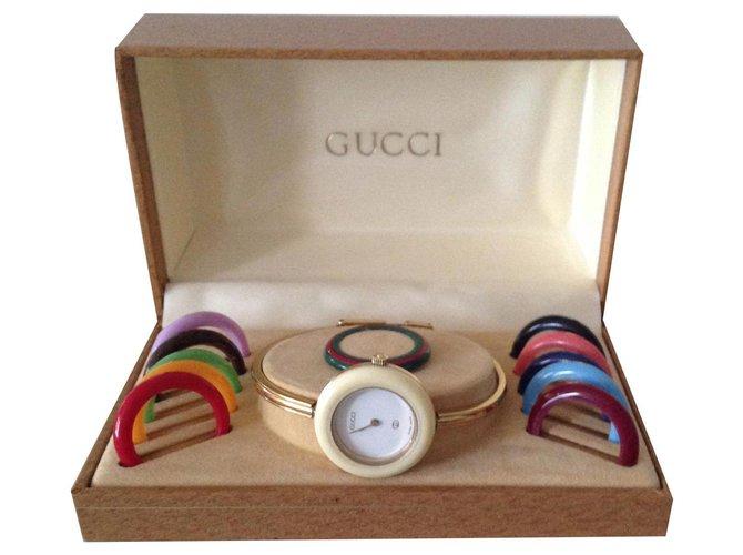 "Montres Gucci GUCCI ""TIMEPIECES"" Plaqué or Multicolore ref.135554"
