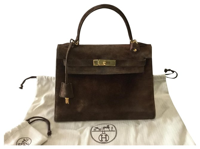 Hermès Kelly Sellier 28 veal doblis Handbags Deerskin Brown ref.135558