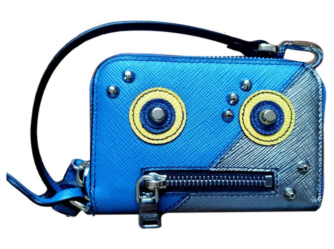 Prada Robot Wallets Small accessories Leather Silvery,Blue ref.135594